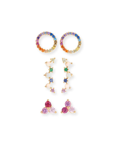 Rainbow Earrings  Set of 3