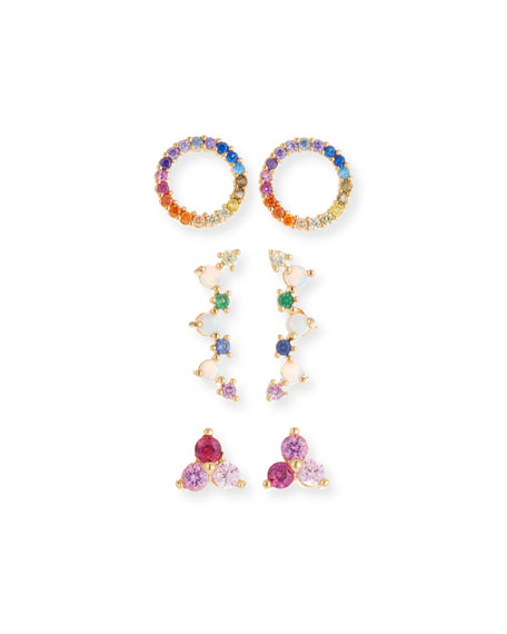 TAI Rainbow Earrings, Set Of 3 in Multi