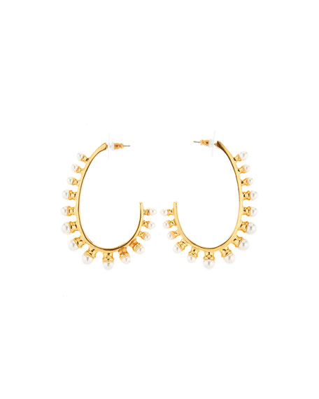 Oscar de la Renta Crystal Pearl Hoop Earrings