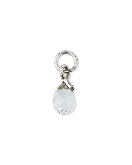 Jude Frances 18K White Gold Petite White Topaz Briolette Earring Charm, Single