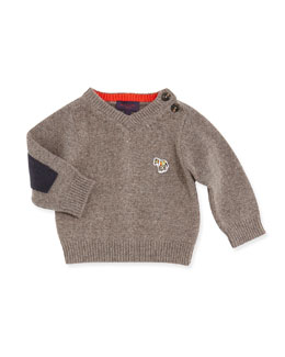 Paul Smith V-Neck Sweater w/Elbow Patches, Boys' 3M-3T