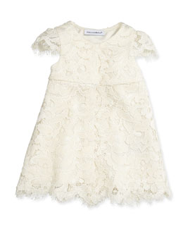Dolce & Gabbana Lace Dress w/Bloomers, White, 3-24 Months