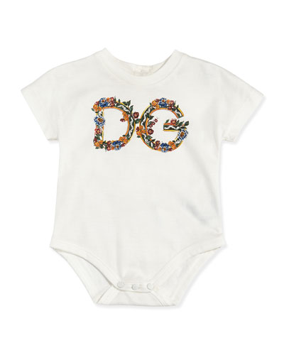 Dolce & Gabbana Floral Print Logo Playsuit, Sizes 3-24 Months