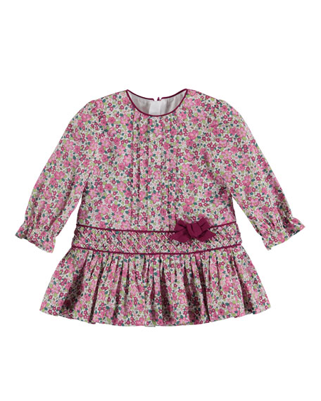 Long-Sleeve Floral Poplin Dress, Size 3-24 Months
