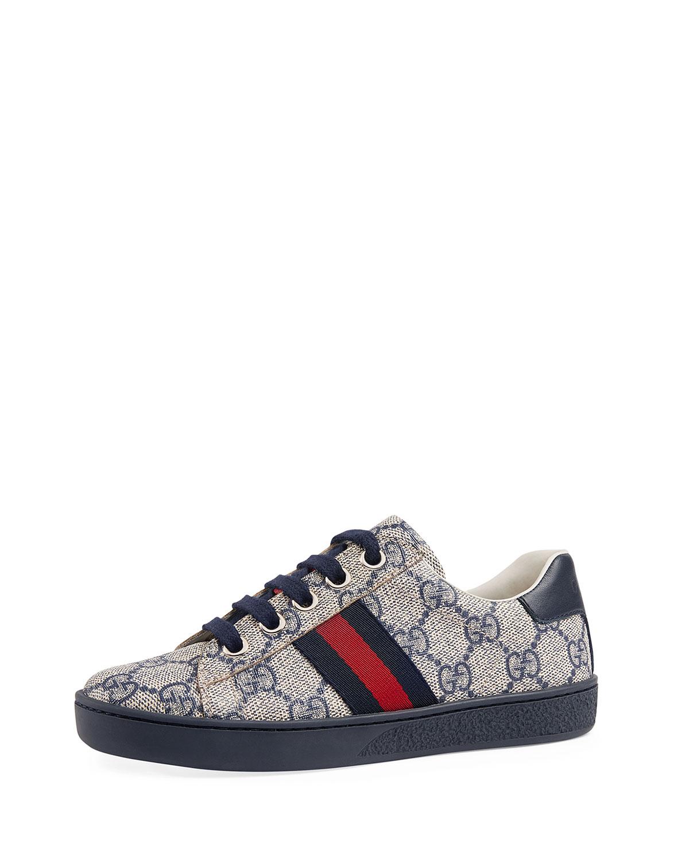 3547344d45783 Gucci New Ace GG Tennis Shoe, Toddler/Kids | Neiman Marcus