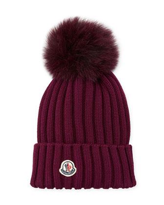 1776e4ed2 Ribbed-Knit Beanie Hat w/Fur Pompom