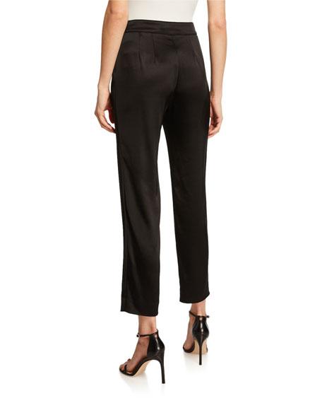 Liquid Satin Side Zip Cropped Pants