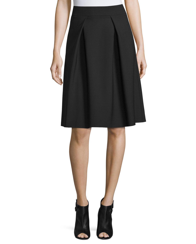 175a00b85 Carolina Herrera Double-Faced Box-Pleated Party Skirt | Neiman Marcus