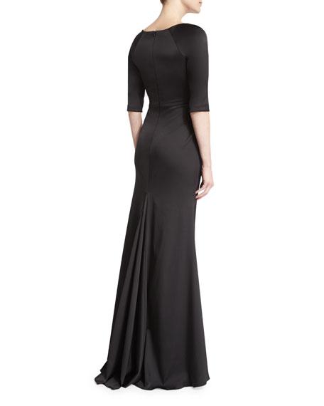 Half-Sleeve Bateau-Neck Mermaid Gown