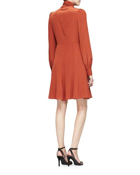 Puffed-Sleeve Tie-Neck Dress, Burnt Sienna