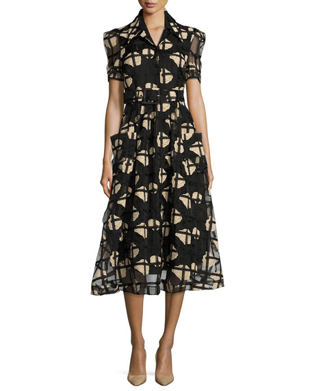 Co Floral Cage Lace Midi Shirtdress, Black
