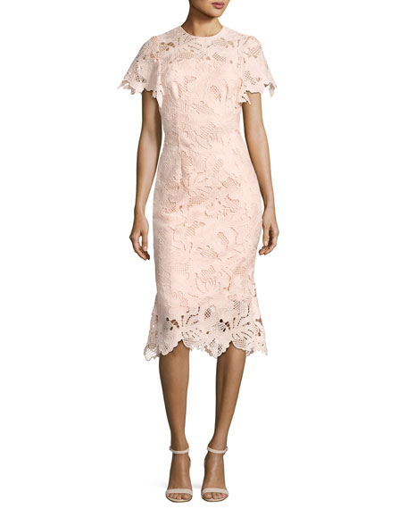 Lela Rose Leaf Guipure Lace Ruffle Dress, Blush