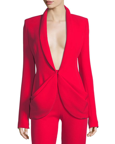 Brandon Maxwell Draped-Pocket Crepe Suiting Jacket and Matching