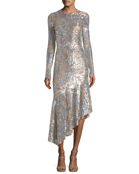 Leaf Paillettes Long-Sleeve Midi Dress