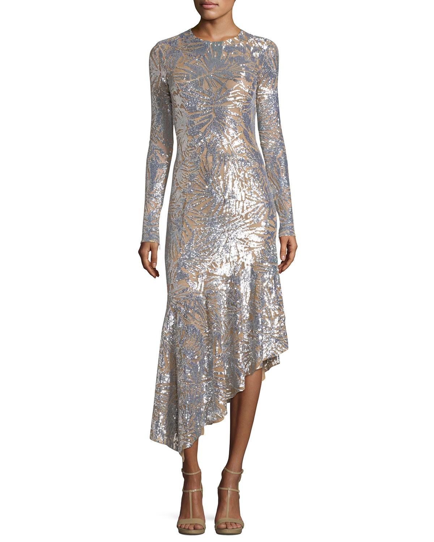 Michael Kors Collection Leaf Paillettes Long-Sleeve Midi Dress ...