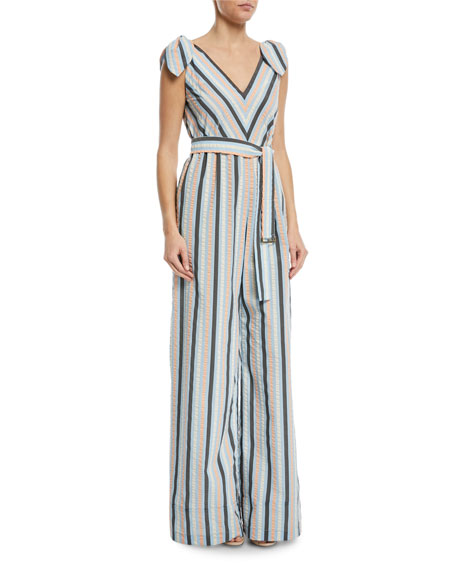 Striped V-Neck Bow-Tie Belted Wide-Leg Jumpsuit