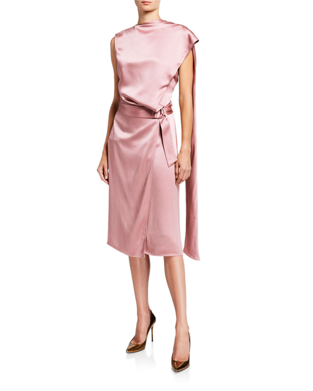 Sally LaPointe Satin Scarf-Neck Dress  Pink