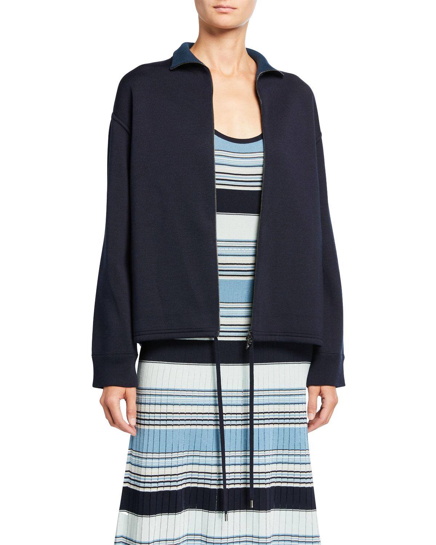 Loro Piana Silk-Knit Zip-Front Bomber Sweater and Matching Items & Matching Items