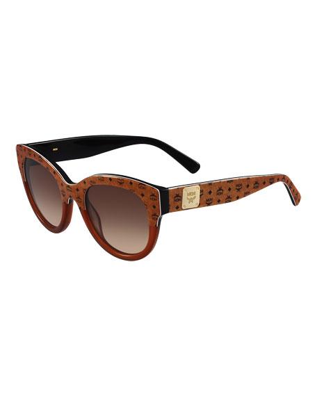 MCM Printed Cat-Eye Logo-Temple Sunglasses, Black/Tan