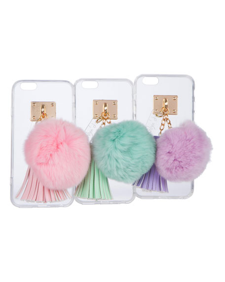 Transparent iPhone 6 Case w/ Fur Pompom
