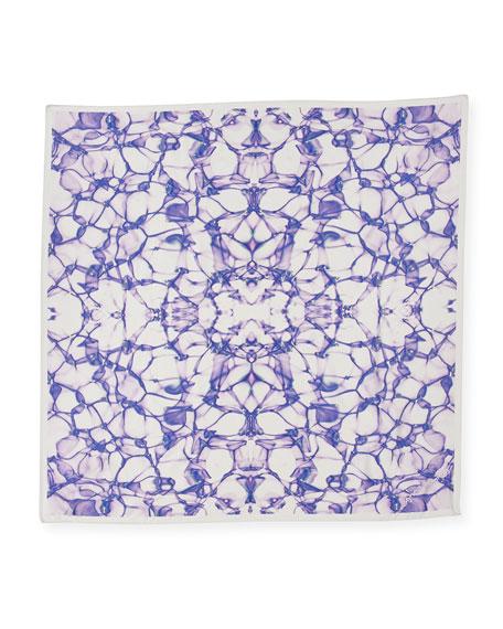 Silk Satin Square Water Scarf, Purple