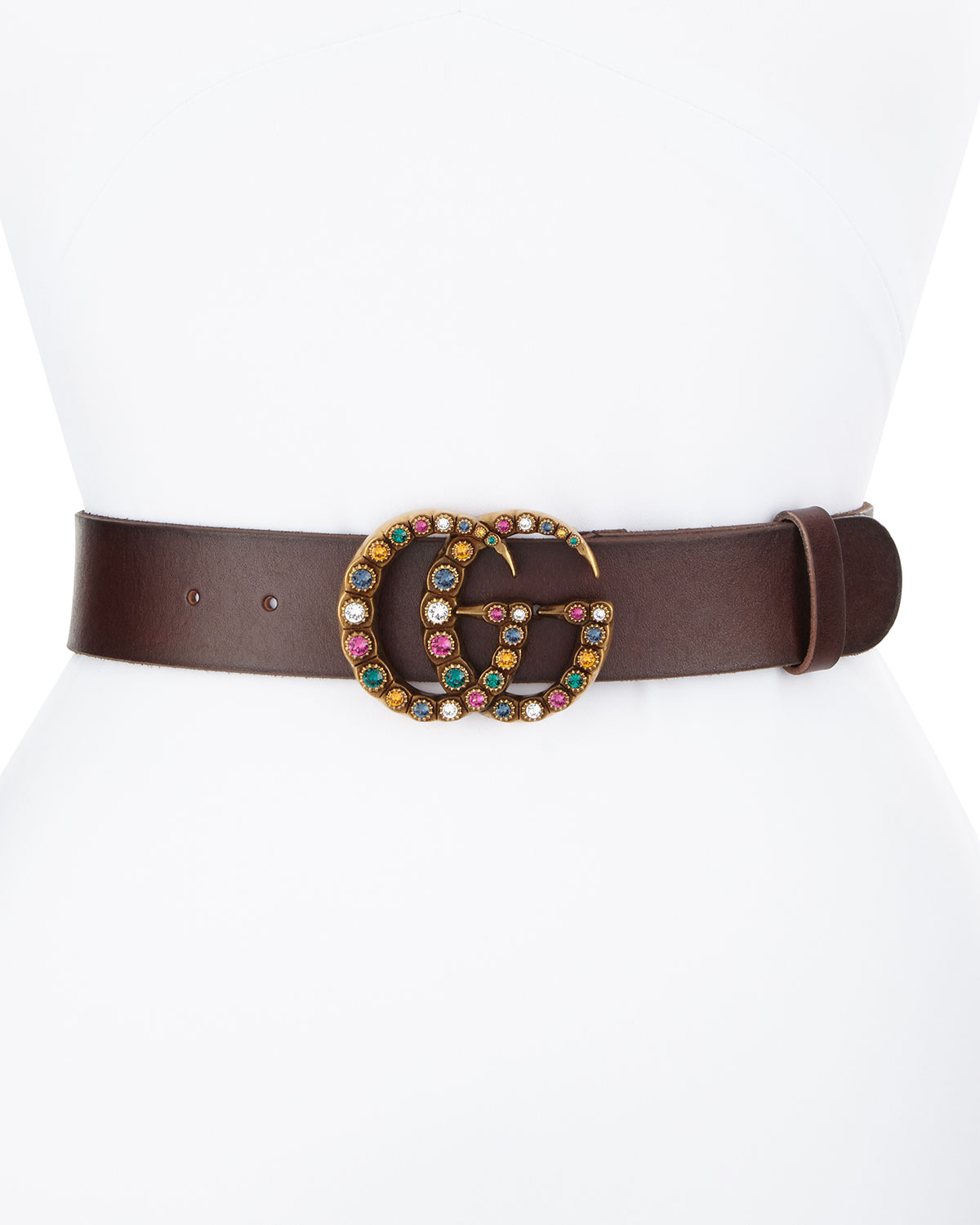 a7b69f9f750 Gucci Leather Belt w  Crystal Double G Buckle