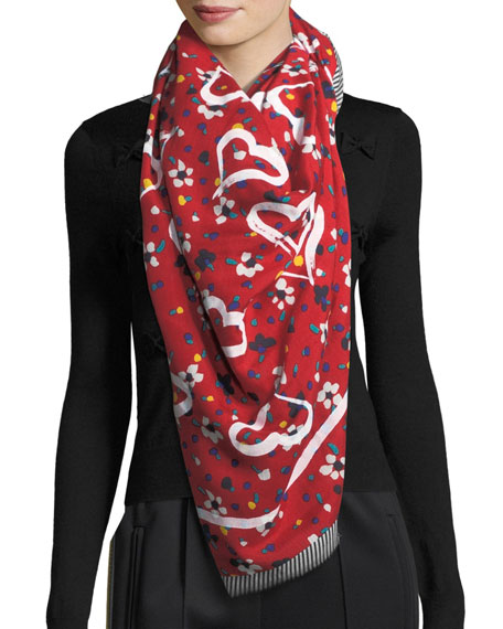 Heart and Flower-Print Scarf w/ Fringe