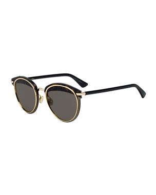 dcc68a55b510 Dior Offset1 Round Rimless Metal Sunglasses