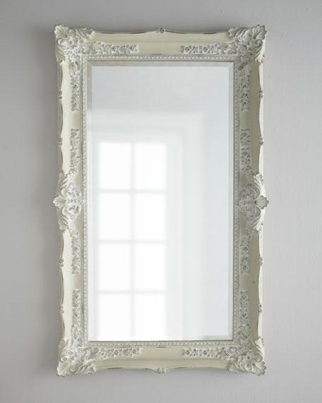 Antique white mirror neiman marcus for Long white wall mirror