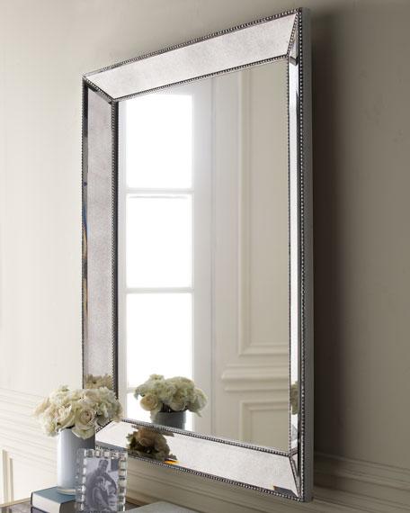 "Beaded Wall Mirror, 36.5""W"