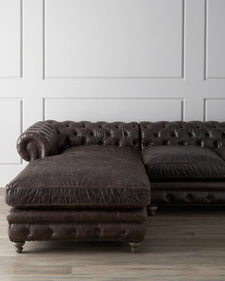 Warner Leather Collection Chesterfield Sectional Sofa Neiman Marcus