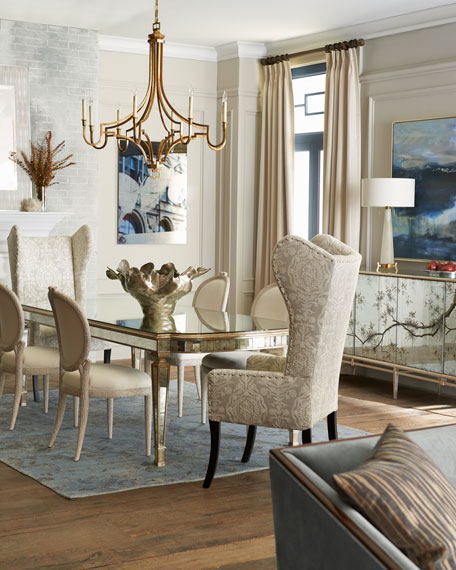 "Eliza 96""L Antiqued Mirrored Dining Table"