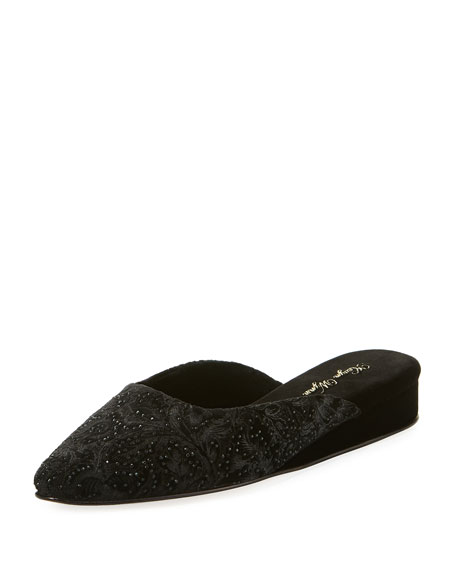 Kevyn Wynn Gillian Crystal Velvet Slipper, Black