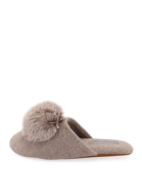Cashmere Fur-Pompom Slipper