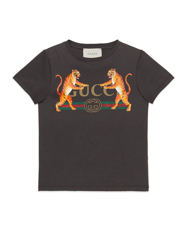 6f2cec392 Gucci Vintage Logo & Tiger-Print Short-Sleeve T-Shirt, Size 4-10 ...