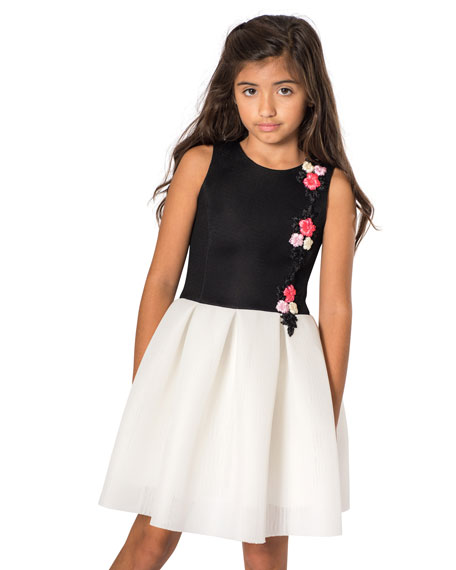 Zoe Victoria Perforated Knit Floral Applique Dress, Size 4-6X