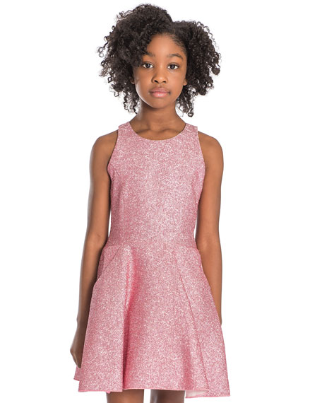 Zoe Danica Metallic Jacquard Pocket Swing Dress, Size 7-16
