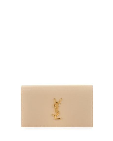 Saint Laurent Monogram Grained Calfskin Clutch Bag