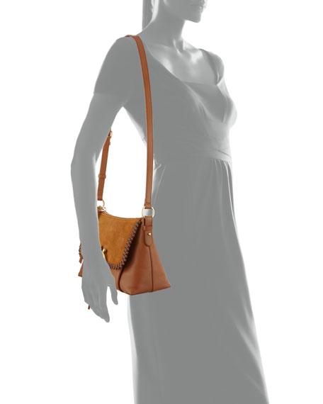 Ring Medium Suede & Leather Shoulder Bag