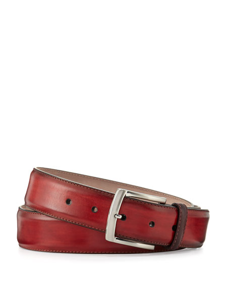 Magnanni for Neiman Marcus Square-Buckle Calf Leather Belt