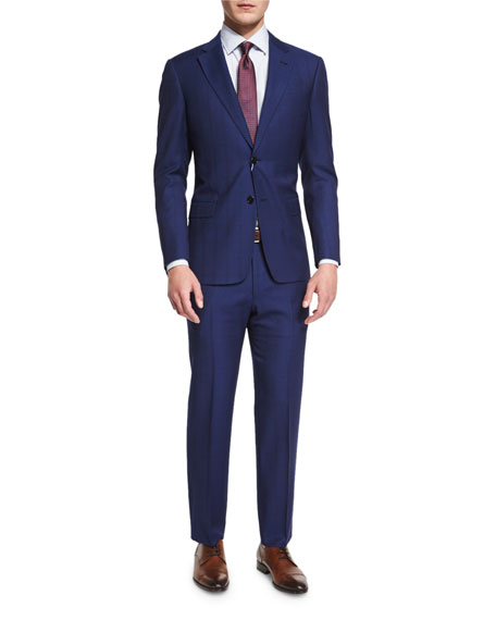Armani Collezioni G-Line Textured Windowpane Wool Suit, Navy