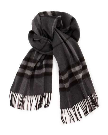 Burberry Men's Cashmere Giant Icon Scarf, Charcoal Check