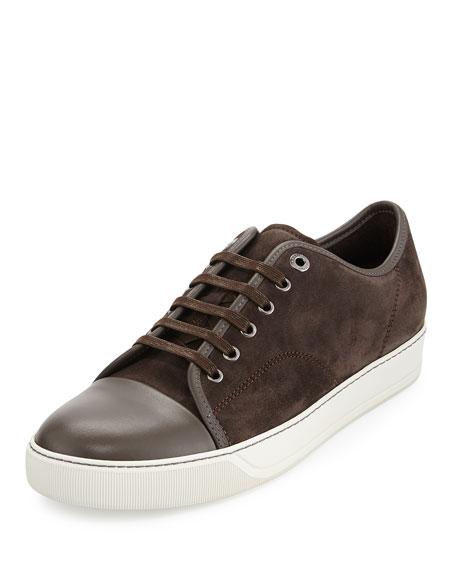 Lanvin Men's Suede Cap-Toe Low-Top Sneaker, Brown