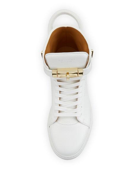 Buscemi 100mm Golden-Padlock Sneakers, White