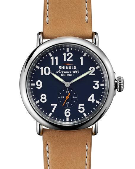 Shinola47mm Runwell Leather Strap Watch