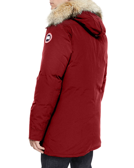 Chateau Fur-Trimmed Parka Jacket, Red