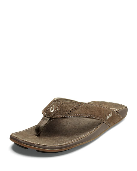 6167128b0237 Olukai Men s Nui Leather Thong Sandals