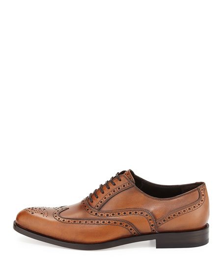Men's Calfskin Wing-Tip Lace-Up Oxford, Light Brown