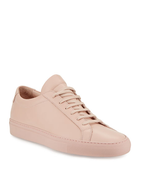Common Projects Men's Achilles Leather Low-Top Sneakers, Blush