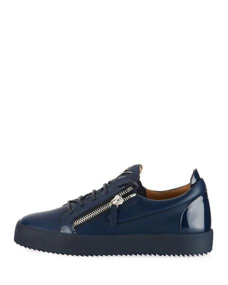 Men's London Double-Zip Leather Low-Top Sneakers